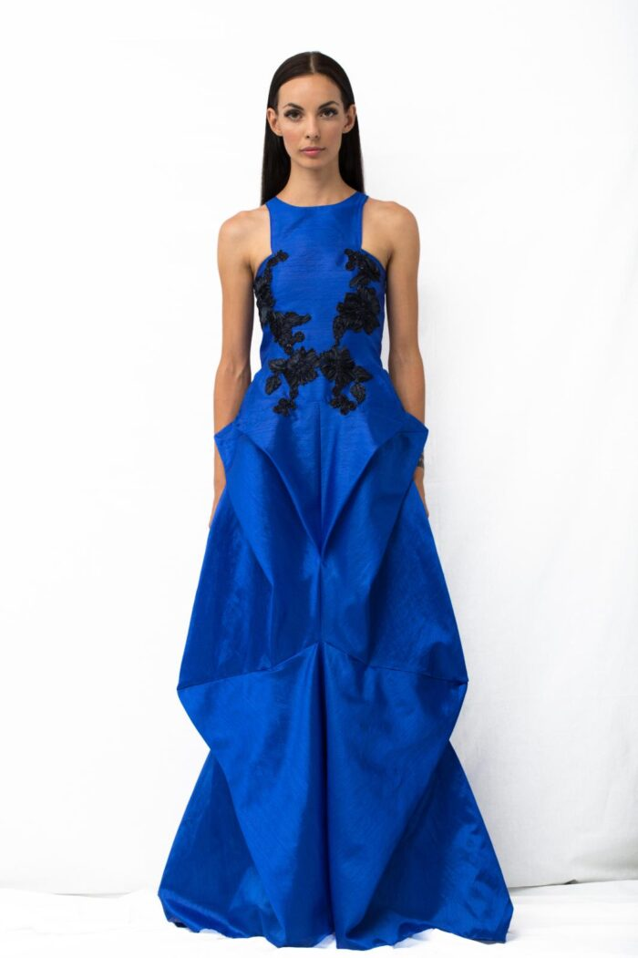 origami long blue dress