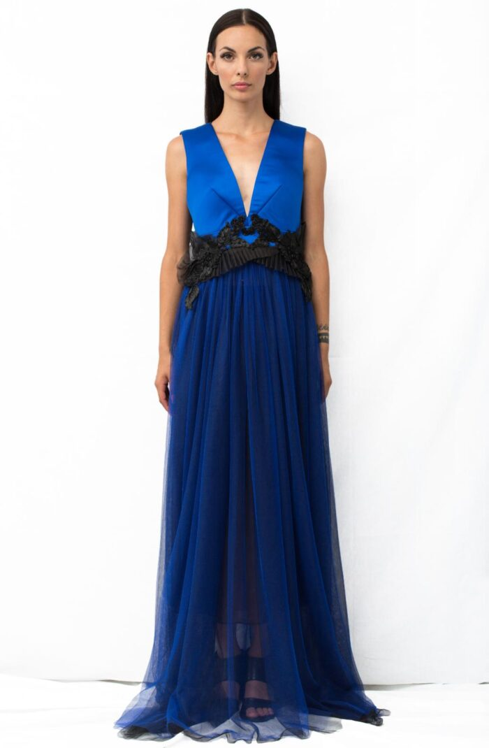 V NECK LONG DRESS blue