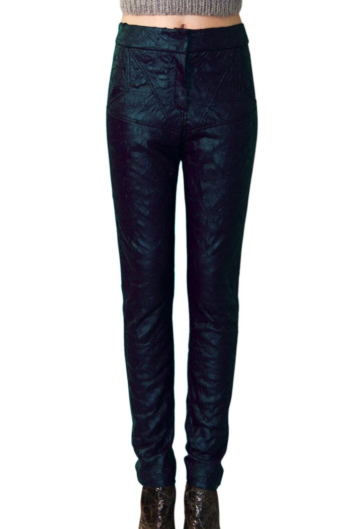 cut out eco leather pants