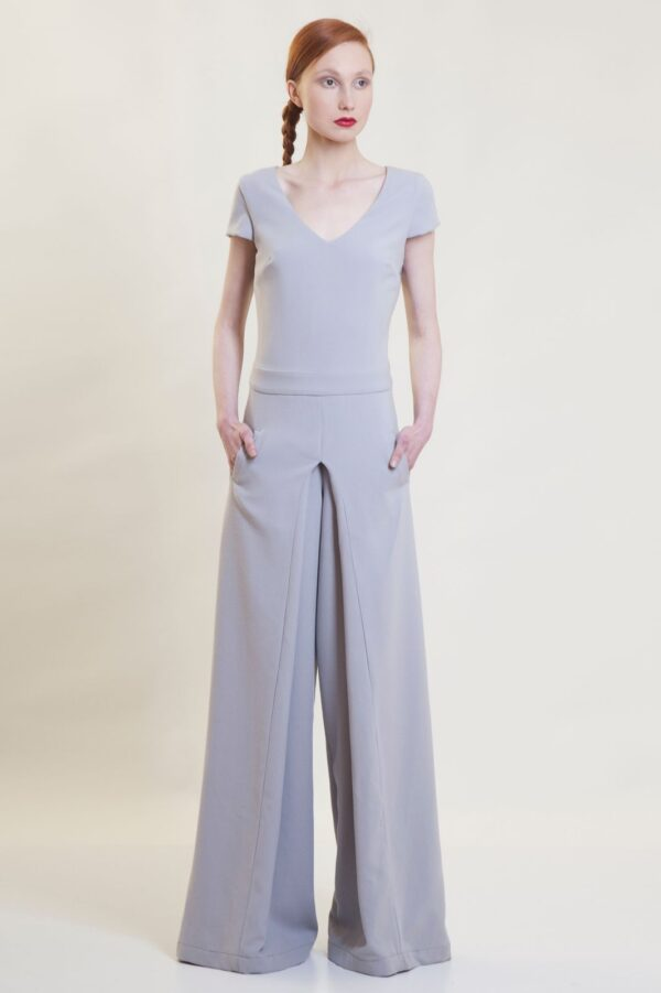 front pleated jumpsuit
