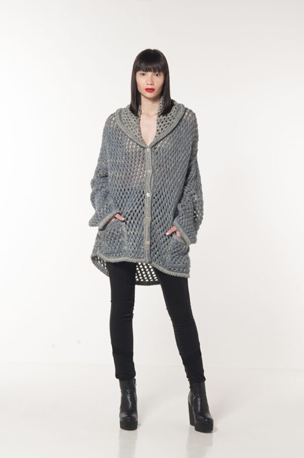 perforated cardigan blue