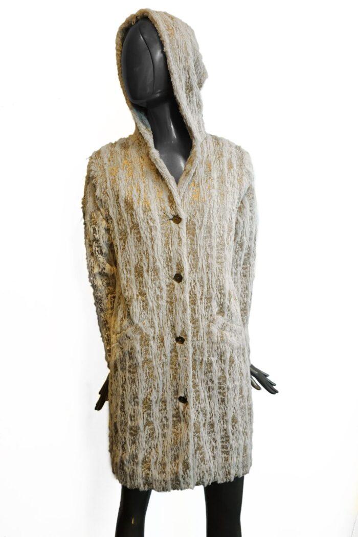 hooded fur coat