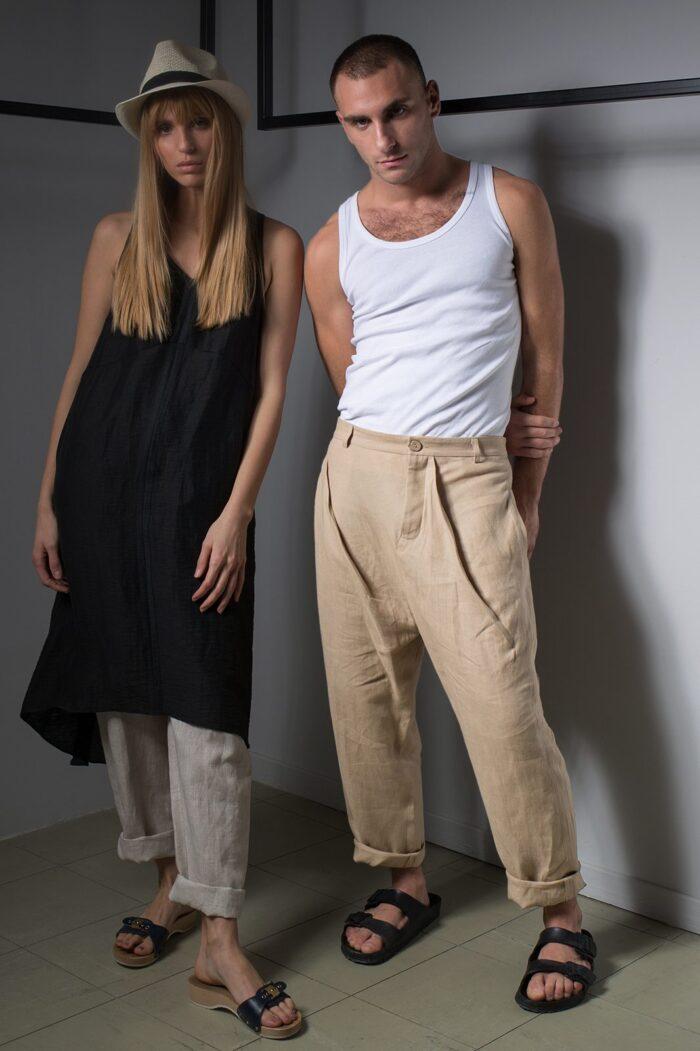 assymetric pleated mens pants