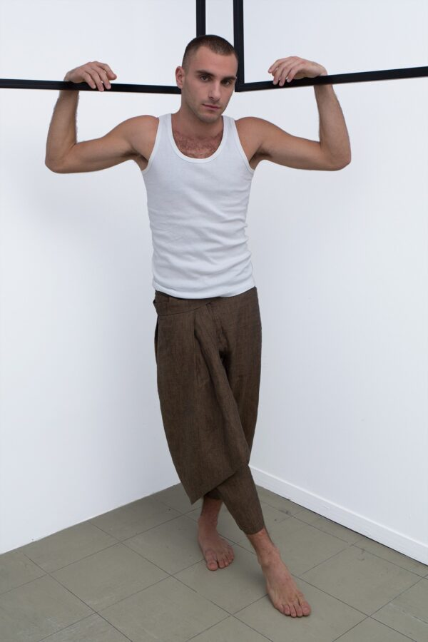 wrapover mens pants